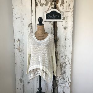LF Millau lace edge cream sweater -FLAW-